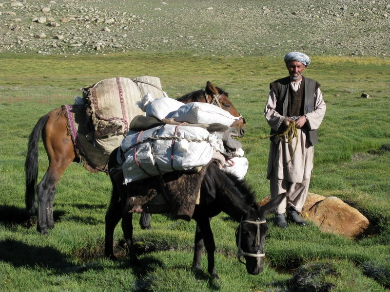 A trader plying the one month on-foot route from Badakhshan to the Kyrgyz of the Little Pamir and back, Afghanistan