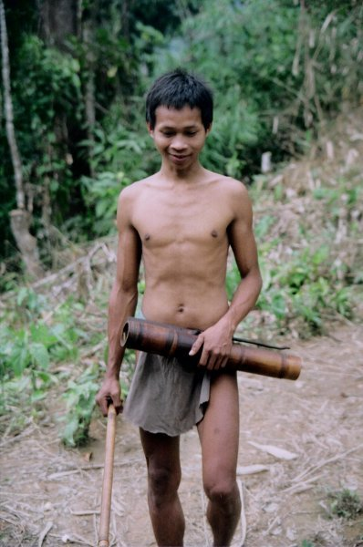 A Palawan man with a blowgun in the jungley interior of South Palawan, the Philippines