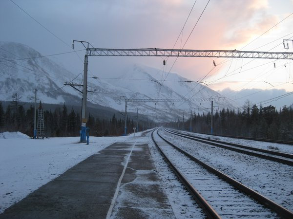 Railway tracks and beautiful mountain scenery, Goudzhekit, Siberia