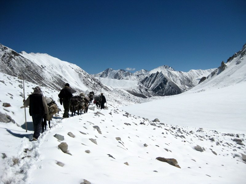 Badakhshi traders crossing a high pass in the Little Pamir, Afghanistan